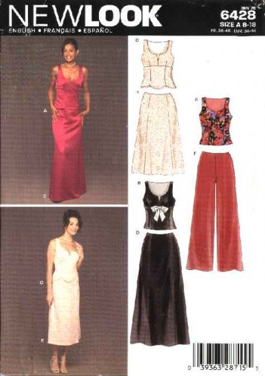 New Look Sewing Pattern 6428 Misses Size 8-18 Formal 2-piece Evening Gown Pants Top Skirt