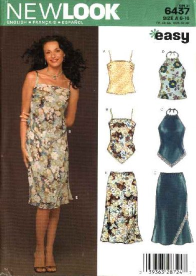 New Look Sewing Pattern 6437 Misses Size 6-16 Easy Skirt Camisole Halter Tops
