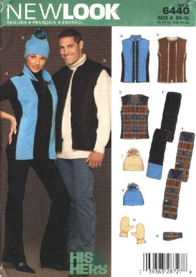 "New Look Sewing Pattern 6440 Unisex Mens Misses Size Chest 30-48"" Vest Scarf Hat Mittens Headband"