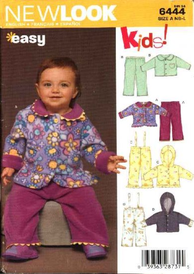 New Look Sewing Pattern 6444 Infants Baby Size NB-24# Easy Jackets Pants