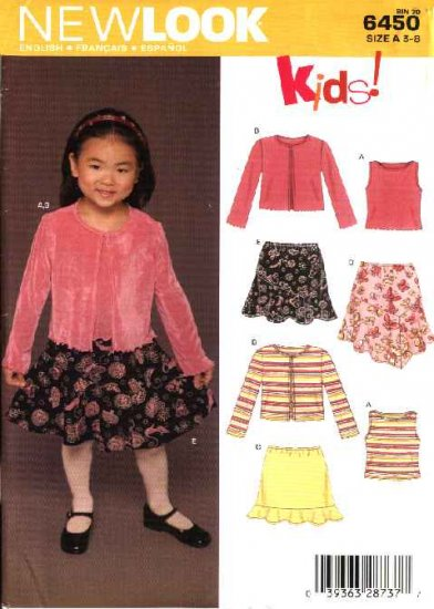 New Look Sewing Pattern 6450 Girls Size 3-8 Knit Pullover Top Skirt Jacket
