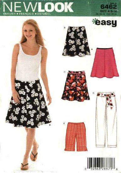 New Look Sewing Pattern 6462 Misses Size 8-18 Easy Flared Skirt Bermuda Shorts Pants