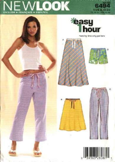 New Look Sewing Pattern 6494 Misses Size 10-22 Easy 1 Hour Drawstring Skirt Pants Shorts