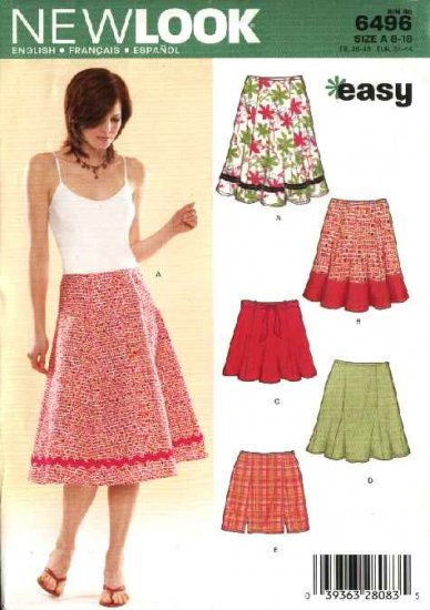 New Look Sewing Pattern 6496 Misses Size 8-18 Easy Flared Gored Godet Skirts Mini-skirts