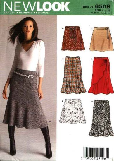 New Look Sewing Pattern 6509 Misses Size 8-18 Gored A-Line Skirts