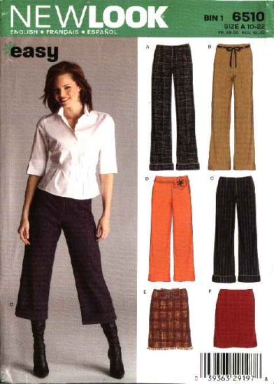 New Look Sewing Pattern 6510 Misses Size 10-22 Easy Pants Capris Straight Pencil Skirt