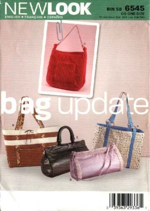New Look Sewing Pattern 6545 Five Bags Purses Totes Handbags