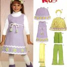 New Look Sewing Pattern 6554 Girls Size 3-8 Poncho Dress Top Pants Headband Scarf