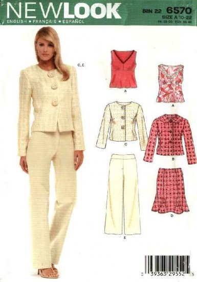 New Look Sewing Pattern 6570 Misses Size 10-22 Top Jacket Pants Skirt Wardrobe