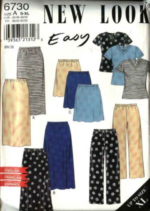 New Look Sewing Pattern 6730 Misses Size 10-24 Easy Knit Tops Pants Skirts Wardrobe