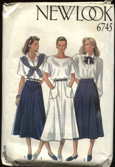 New Look Sewing Pattern 6745 Misses Size 8-18 Flared Skirt Yoke Pocket Options