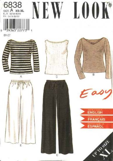 New Look Sewing Pattern 6838 Misses Size 6-24 Easy Knit Tops Woven Pants