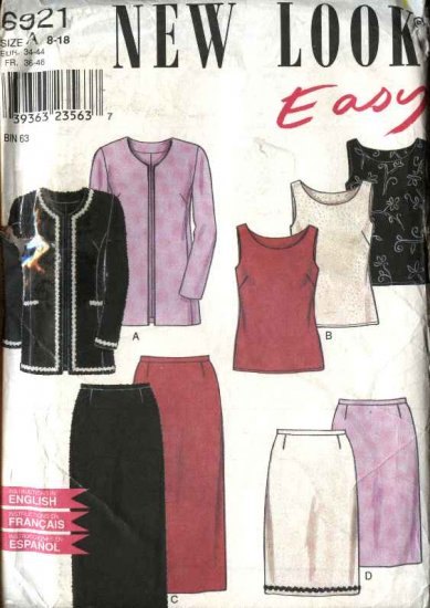 New Look Sewing Pattern 6921 Misses Size 8-18 Top Jacket Skirt Wardrobe