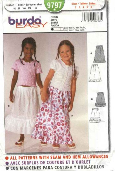 Burda Sewing Pattern 9797 Girls Sizes 2-6 Easy Ruffled Pull-on Skirts