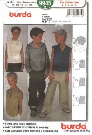 Burda Sewing Pattern 9945 Boys Size 8-12 Easy Hoodie Shirt Top
