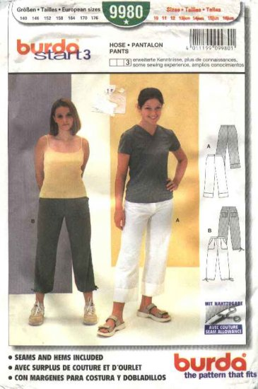 Burda Sewing Pattern 9980 Girls size 10-16Jr. Fitted Pants