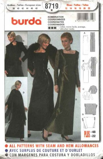Burda Sewing Pattern 8719 Misses Size 12-22 Evening Gown Dress Jacket Formal
