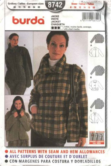 Burda Sewing Pattern 8742 Misses Tall Sizes 8-18 Jacket short Coat