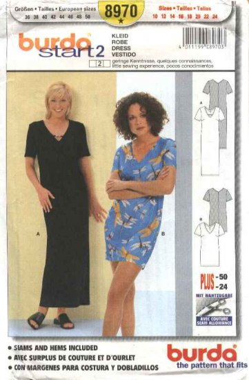 Burda Sewing Pattern 8970 Misses Size 10-24 Easy Pullover Dress