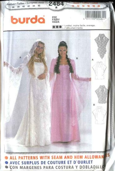 Burda Sewing Pattern 2484 Misses Size 10-20 Fairy Costumes Wedding Dress