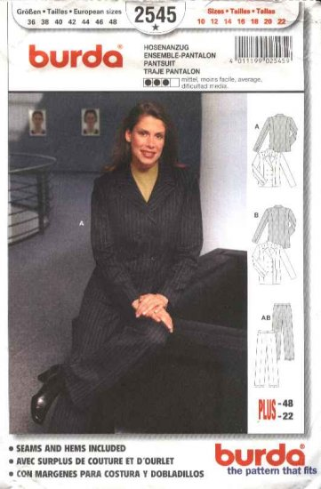 Burda Sewing Pattern 2545 Misses Size 10-22 Jacket Pants Pantsuit
