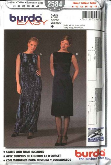 Burda Sewing Pattern 2584 Misses Size 8-18 Sleeveless Long Short Dress