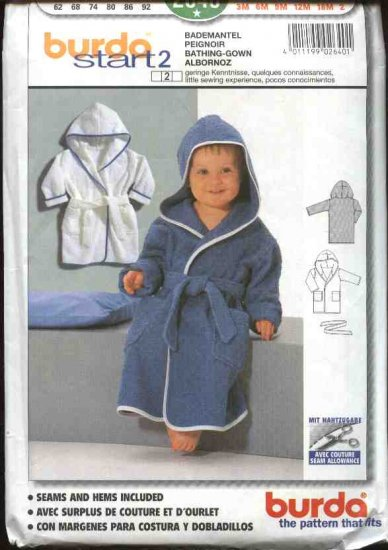Burda Sewing Pattern 2640 Size Child�s Boys Girls 3 month-2 year Hooded Bathrobe