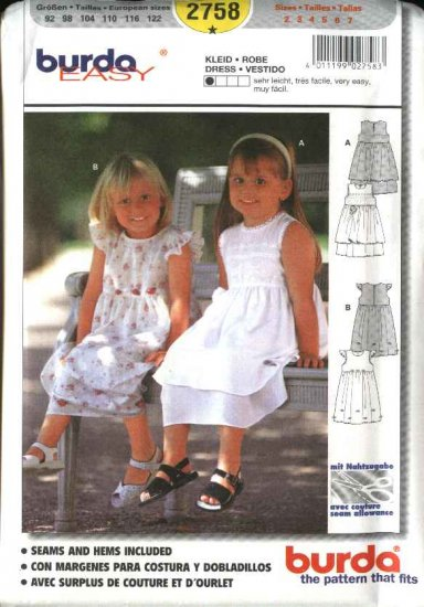 Burda Sewing Pattern 2758 Size 2-7 Toddlers' Girls' Dresses
