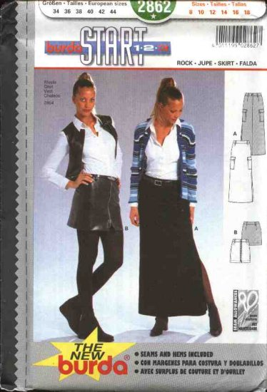 Burda Sewing Pattern 2862 Misses Size 8-18 Easy Long Skirt Mini-skirt