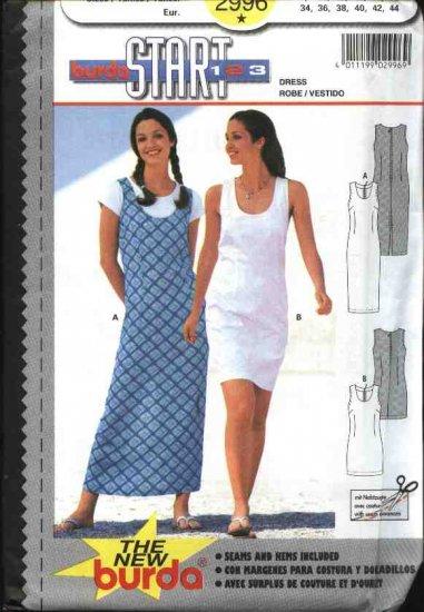 Burda Sewing Pattern 2996 Misses Size 8-18 Straight Dress Jumper