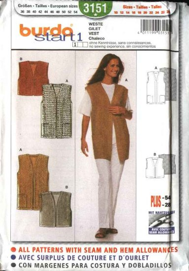 Burda Sewing Pattern 3151 Misses Size 10-28  Easy Vests - 2 lengths