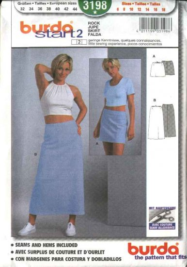 Burda Sewing Pattern 3198 Misses Size 6-18 Fitted A-Line Skirts