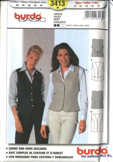 Burda Sewing Pattern 3413 Misses Sizes 8-16 Easy Semi-fitted Vest