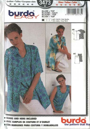 Burda Sewing Pattern 3473 Size 10-20 Misses' Blouse  Top