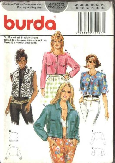 Burda Sewing Pattern 4293 Misses Size 8-18 Fitted Jacket Vest