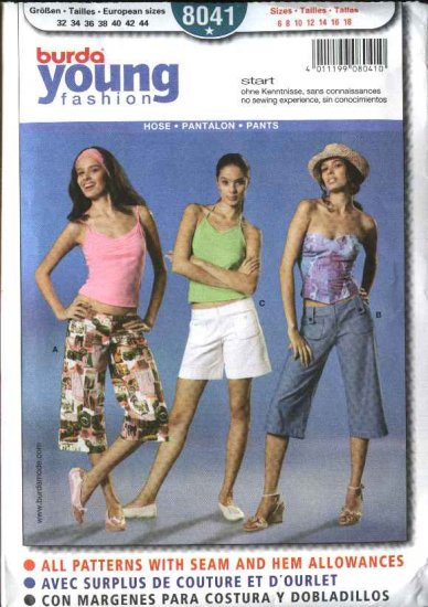 Burda Sewing Pattern 8041 Misses Size 6-18 Easy Capri Pants Shorts