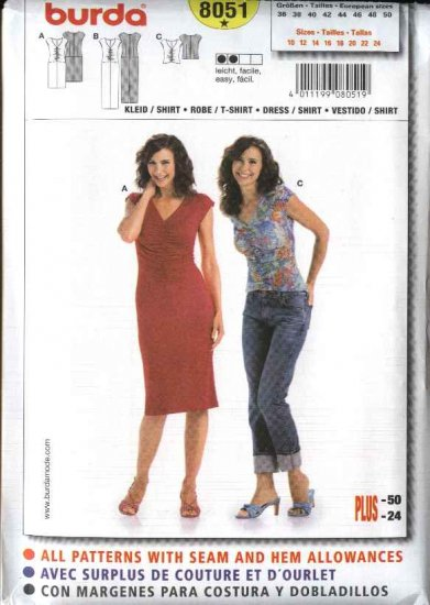 Burda Sewing Pattern 8051 Misses Size 10-24 Easy Knit Dresses Top