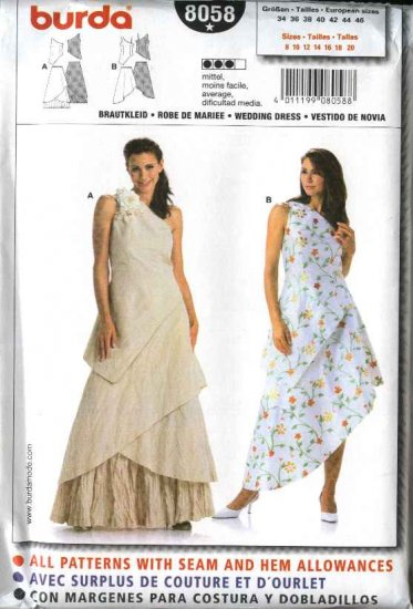 Burda Sewing Pattern 8058 Size 8-20 Misses' Formal Dresses Wedding Gown