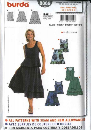 Burda Sewing Pattern 8069 Misses Size 6-18 Easy 2-piece Dress Top Ruffled Skirt