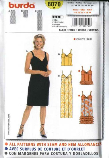 Burda Sewing Pattern 8070 Size 6-18 Misses' Camisole Tops Summer Dresses