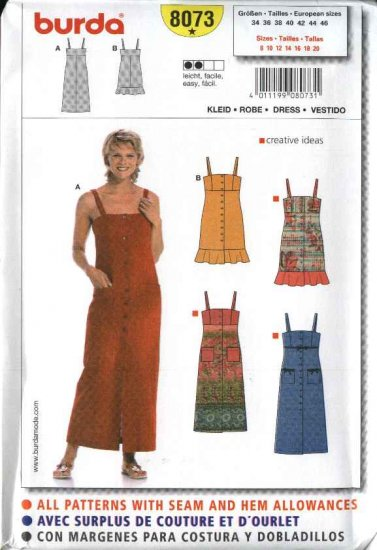 Burda Sewing Pattern 8073 Size 8-20 Misses' Easy Fitted Dress Jumper