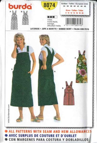 Burda Sewing Pattern 8074 Size 8-20 Misses Bibbed Dress  Overall style Jumper