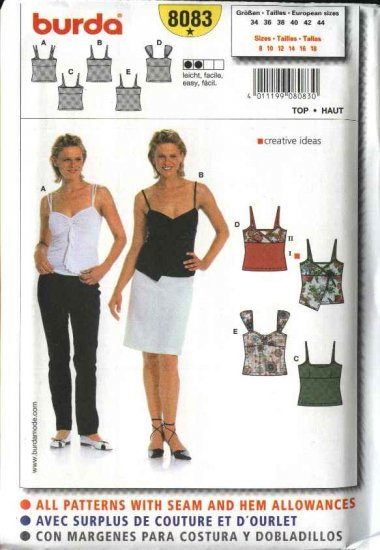 Burda Sewing Pattern 8083 Size 8-18 Misses Easy Fitted Knit Tops 5 Variations