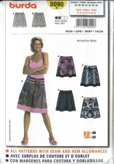 Burda Sewing Pattern 8090 Misses Size 10-22 Easy Skirts