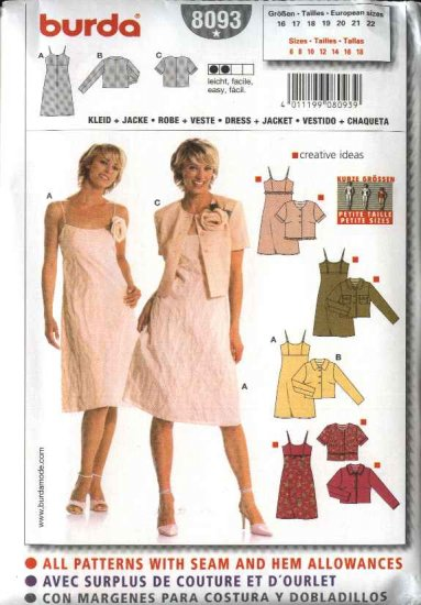 Burda Sewing Pattern 8093 Misses Petite Size 6-18 Easy Dresses Jackets Sundress