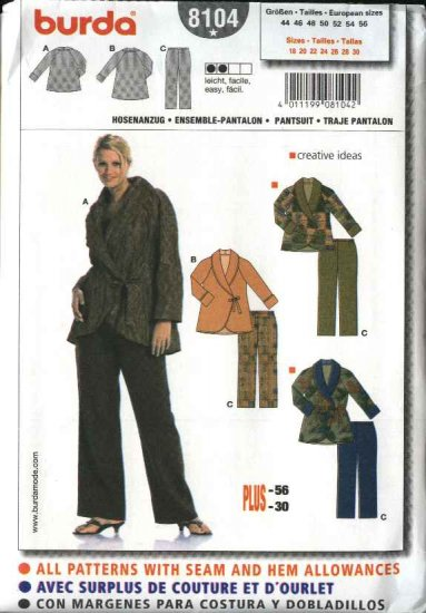 Burda Sewing Pattern 8104 Size 18-30 Women's Plus Pantsuits Jacket Pants