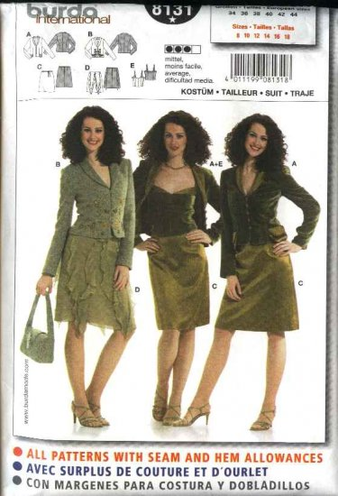 Burda Sewing Pattern 8131 Misses Size 8-18 Suit Jacket Camisole Skirt