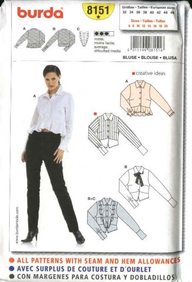 Burda Sewing Pattern 8151 Size 6-20 Misses' Blouses Shirt Top