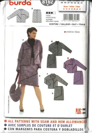 Burda Sewing Pattern 8162 Misses Size 12-24 Jacket Mock Wrap Skirt