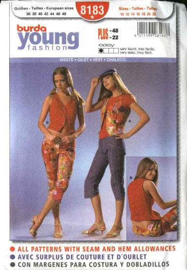 Burda Sewing Pattern 8183 Size 10-22 Misses' Easy Fitted Vests
